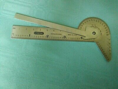 General #16 protractor,square, drilll pt gauge,circle divider, ctr finder case