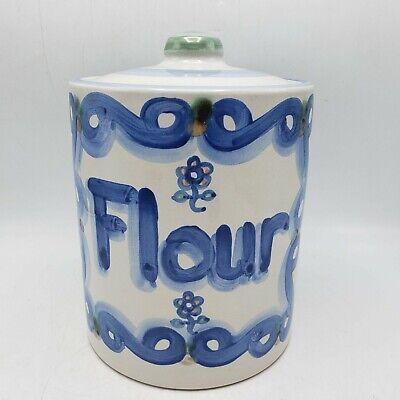"""M.A. Hadley Pottery Large FLOUR JAR Canister Storage Pink Blue Flower w/ Lid 10"""""""