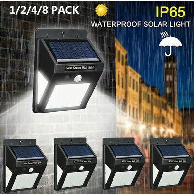 4X 30LED Solar Powered PIR Motion Sensor Wall Security Light Garden Outdoor Lamp