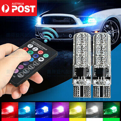 Gex RGB Remote T10 Wedge Car LED Light 8 Colour Changing 6 Led 5050 12V Flash OZ