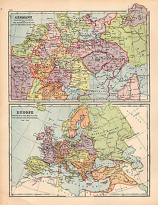 Map of Europe and Germany Large 1880 Original Antique