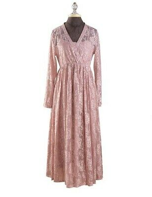 Victorian Trading Co Hopeless Romantic Champagne Pink Garden Lace Wrap Dress XXL