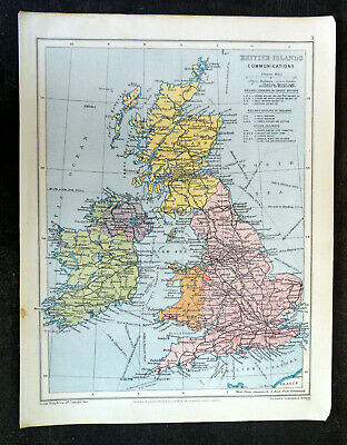Map Of British Isles Communications George Philip & Son Vintage 1944