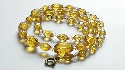 Czech Vintage Art Deco Yellow And Clear Faceted Glass Bead Necklace