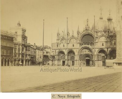 St. Marks view Venice Italy antique albumen photo by Naya