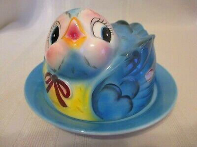 Lefton ESD Japan Hand Painted Bluebird Covered Butter Cheese Dish #7026