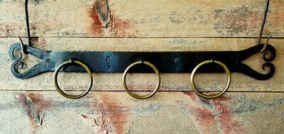 Vintage Blacksmith Made HAND FORGED HEARTS Old Iron TOWEL BAR w/ Brass Rings
