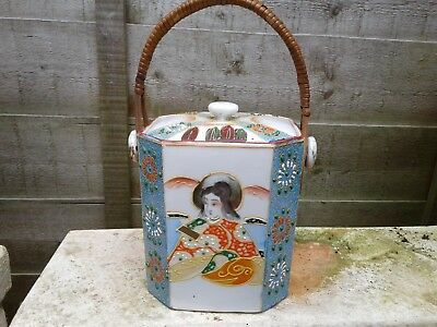 VINTAGE HAND PAINTED PORCELAIN JAPANESE SATSUMA TEA CADDY with HANDLE