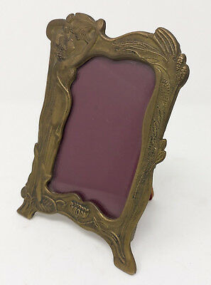 Antique Brass Ornate Lady Nymph & Floral Detail Art Nouveau Style Photo Frame