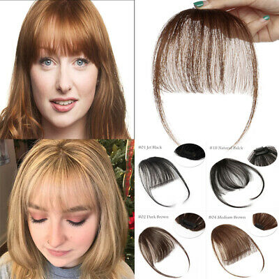 Clearance One Piece Clip In Bang Fringe Remy Human Hair Extensions Thin Hair Pcs