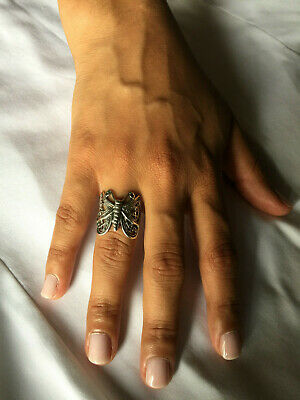 .925 Sterling Silver  Butterfly Ring With Oxidized Antique Finish J 59A