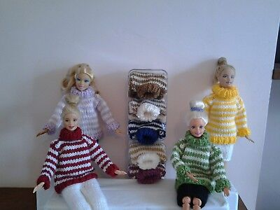 Hand Knitted Barbie/Sindy Dolls  Chunky Stripe Jumper Or  Skirt...