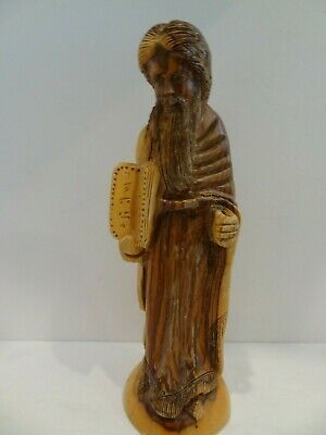 Very Nice Vintage Hand Carved Hard Wood Statue Of Moses