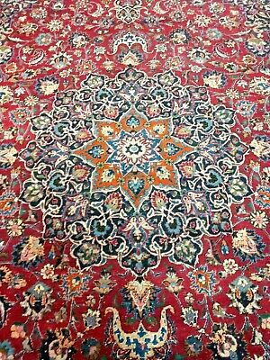PROFESSIONALLY CLEANED Vintage 10' x 13' Hand Woven Wool Oriental Rug Signed