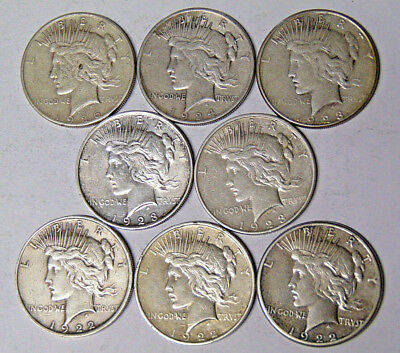 Lot of 8 Peace Silver Dollars 1922 1922-D 1922-S 1923 1923-D 1923-S 1924 1926-S