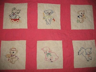 Vtg Girls Hand Embroidered Quilted Baby Animal Nursery Crib Quilt Blanket Pink