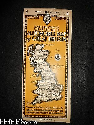 Vintage AA Automobile Map of Great Britain- 1937 - Oban/Fort William, Scotland