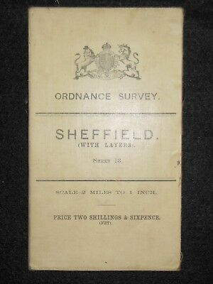 Vintage Ordnance Survey (O/S) Map of Sheffield, 1908 -  Sheet 13 South Yorkshire
