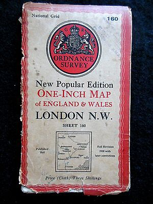 Vintage Ordnance Survey Map of LONDON N W - 1945 - St Albans, Barnet, Chesham