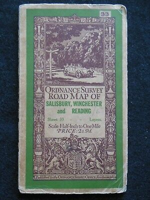 Vintage Ordnance Survey Folding Map - 1926 - Salisbury, Winchester & Reading, 33