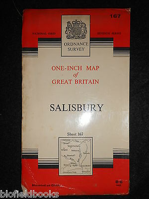 "VINTAGE ORDNANCE SURVEY 1"" MAP of Salisbury - 1963 - Wiltshire - Sheet 167/Cloth"
