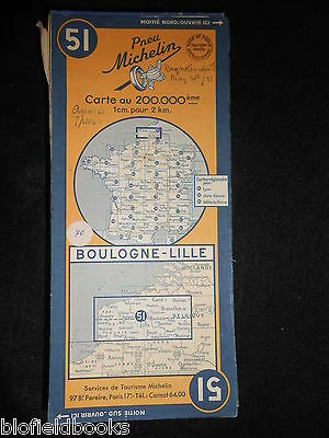 Vintage French Michelin Map of BOULOGNE/LILLE (Feuille 51/Carte de France) c1950