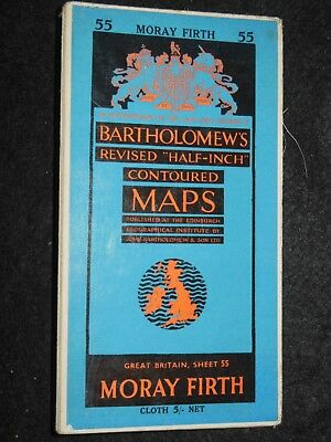 Vintage Bartholomew Half Inch Map of Moray Firth - 1955 - Sheet 55 - Scotland