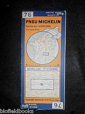 Vintage 1935 French Michelin Map: Aurillac St Etienne (Feuille 76/Carte France)
