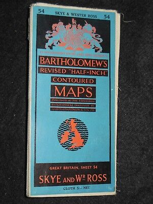 Vintage Bartholomew Half Inch Map of Skye & Wr Ross - 1952 - Sheet 54 - Scotland