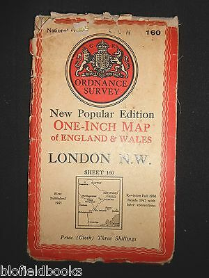 Vintage Ordnance Survey Map of LONDON N W - 1947 - St Albans, Watford, Luton