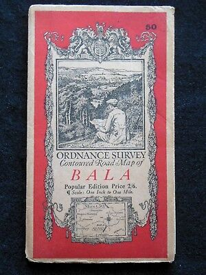 Vintage Ordnance Survey Folding Map - Bala - c1934 - Sheet 50 - Wales, Snowdonia