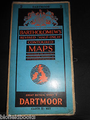 Vintage Bartholomew's Half Inch Map of Dartmoor - 1955 - Sheet 2 - English Moors