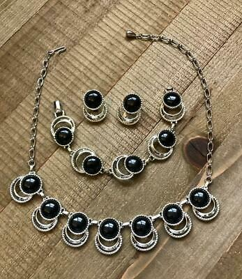 71314ffdfdec0a SAC Sarah Coventry Silver Black Cab Necklace Bracelet Clip-on Earrings Set  Lot