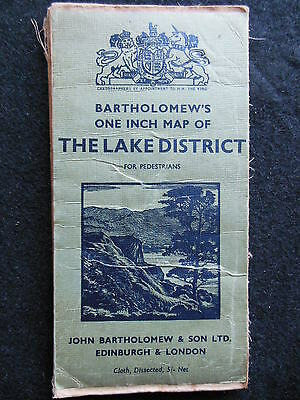 Vintage Bartholomew Folding Map of the Lake District - c1930s - Cumbria/North UK