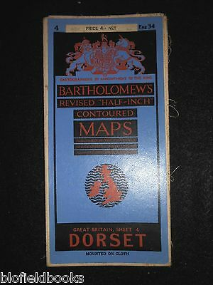 Vintage Map of Dorset- c1950s Bartholomew's Revised Half Inch Contoured Sheet 4