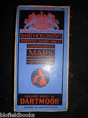 Vintage Bartholomew Half Inch Map of Dartmoor - 1935 - Dissected/Cloth Mounted