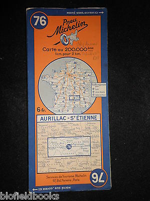 Vintage French Michelin Map of AURILLAC/ST ETIENNE (Sheet 76/France) c1937