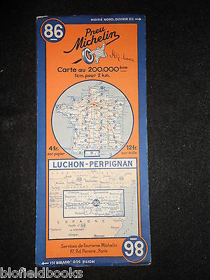 Vintage French Michelin Map of LUCHON/PERPIGNAN (Feuille 86/Carte France) c1935
