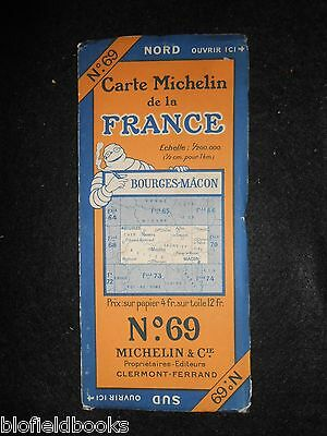 Vintage 1927 French Michelin Map of Bourges Macon (Feuille 69/Carte de France)