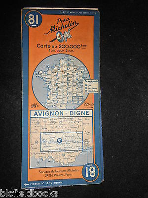 Vintage French Michelin Map of AVIGNON/DIGNE (Feuille 81/Carte de France) c1946
