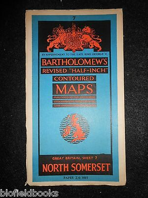 Vintage Map of North Somerset - c1950s Bartholomew's Half Inch Contoured Sheet 7