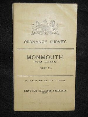 Vintage Ordnance Survey (O/S) Map of Monmouth Area - 1908 -  Sheet 27 - Wales