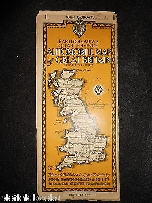 Vintage AA Automobile Map of Great Britain- 1933, John O'Groats, North Scotland