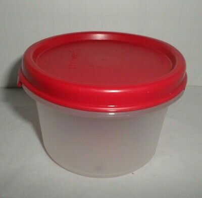 New Tupperware Modular Mate Small Round 7 Oz Clear With Red Lid