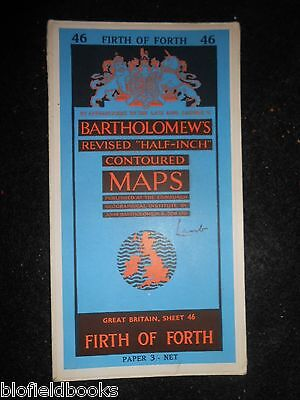 Vintage Bartholomew's Half Inch Map - Firth of Forth - 1959 - Scotland, Scottish