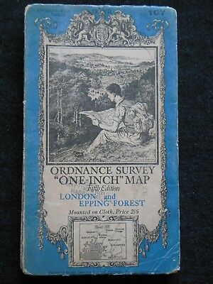 Vintage Ordnance Survey Folding Map - London & Epping Forest - 1937 - Essex 107