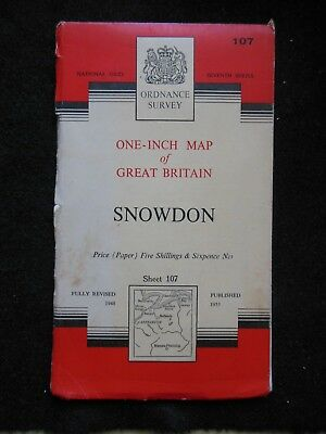 "VINTAGE ORDNANCE SURVEY 1"" MAP - Snowdon (1959) North Wales, Snowdonia, Welsh"