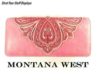 1 MONTANA WEST Embroidered PINK TRI-FOLD WALLET. NEW. Beautiful Pink/Rhinestones