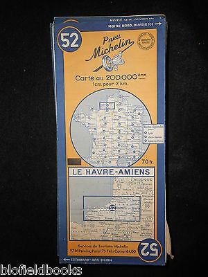 Vintage French Michelin Map of LE HAVRE/AMIENS (Feuille 52/Carte de France) 1951