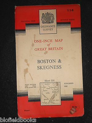 Vintage Ordnance Survey Map of Boston & Skegness - 1962 - Lincolnshire/The Wash